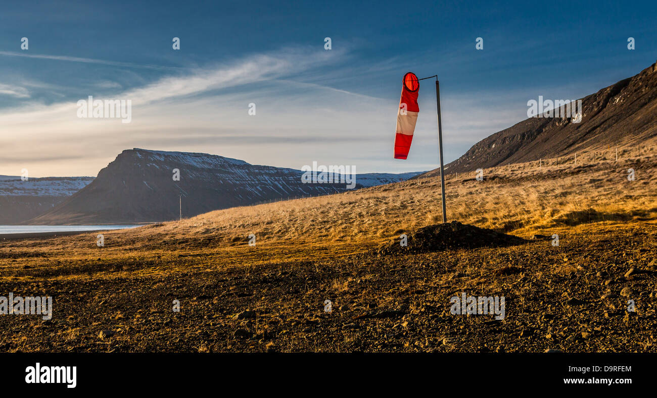 Wind sock by landing strip, Snaefellsnes Peninsula, Iceland. - Stock Image