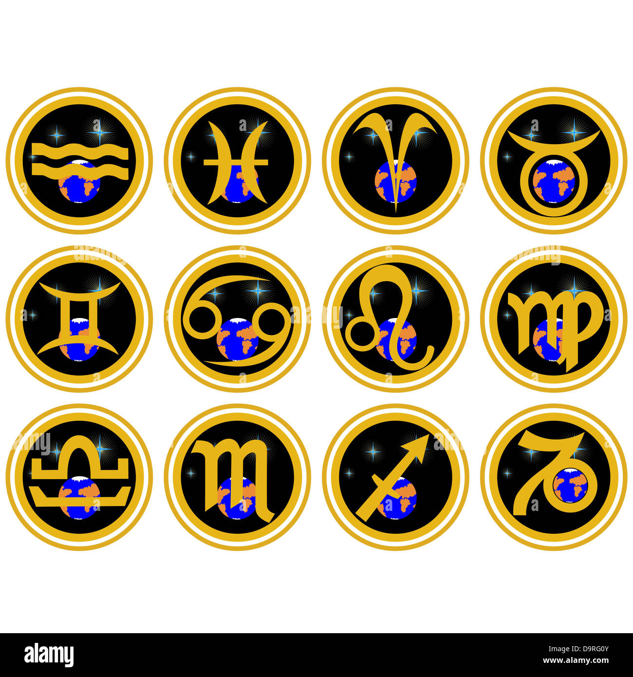 Signs of the Zodiac constellations. The illustration on a white background. - Stock Image