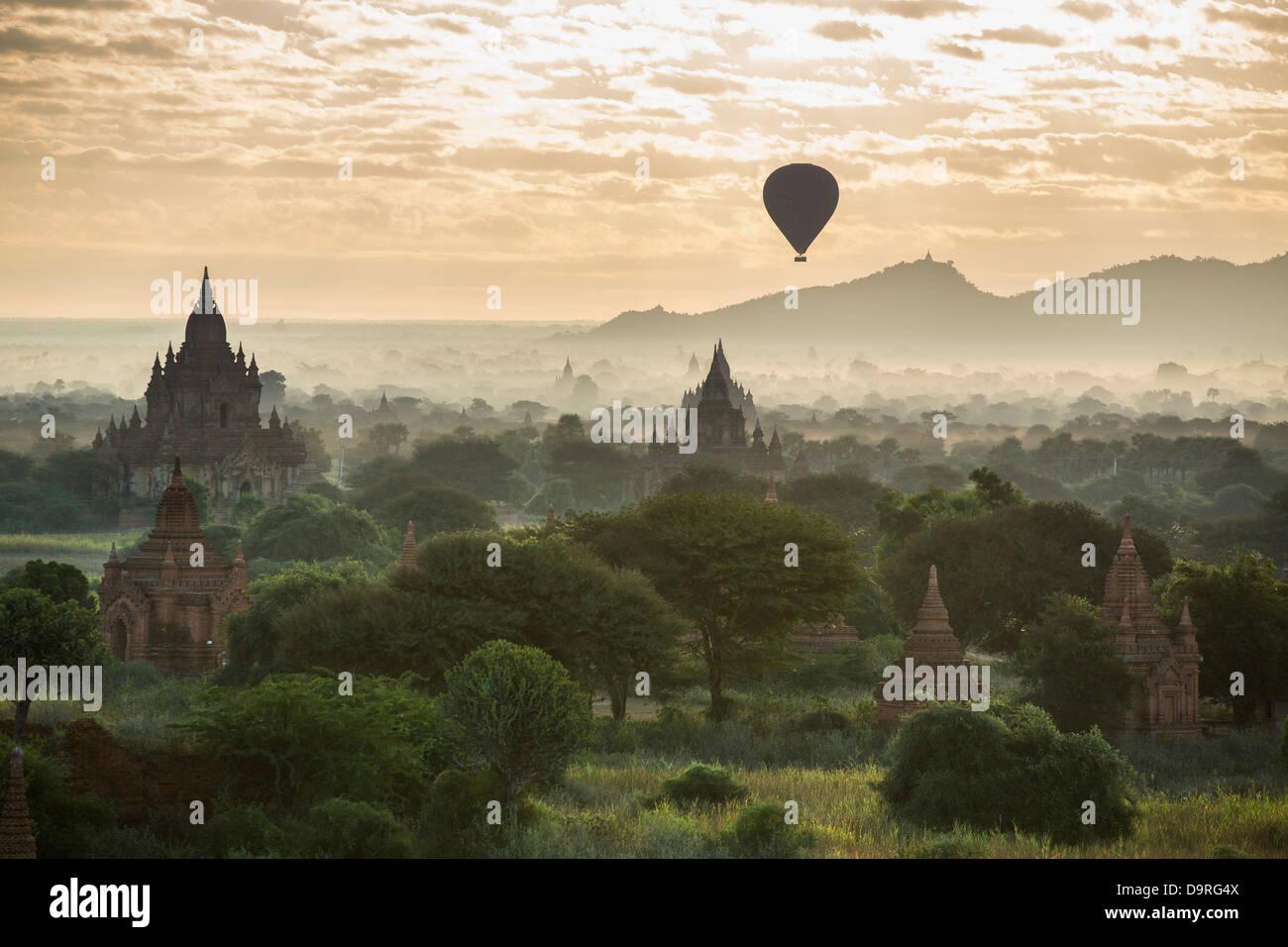 balloons over the Temples of Bagan at dawn, Myanmar (Burma) Stock Photo