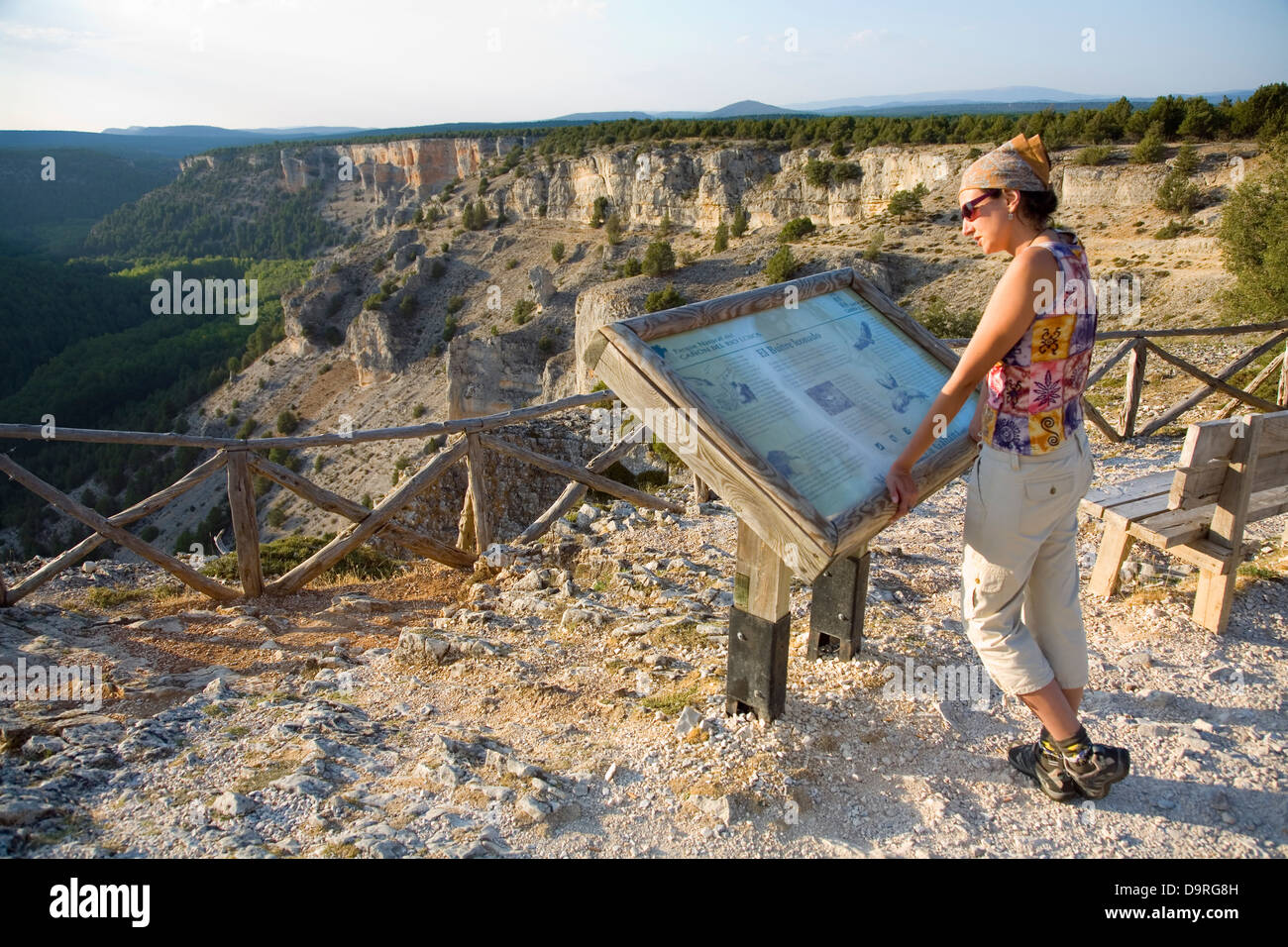 Woman in 'La Galiana' viewpoint. Cañon del Rio Lobos Natural Park . Soria province, Castile and Leon, - Stock Image