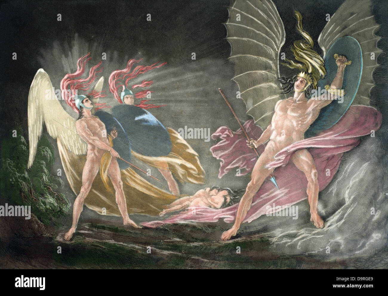 John Milton (1608-1674). British poet. Paradise Lost. 1658-1667. Satan tempts Eve in the dream. Engraving. Colored. - Stock Image