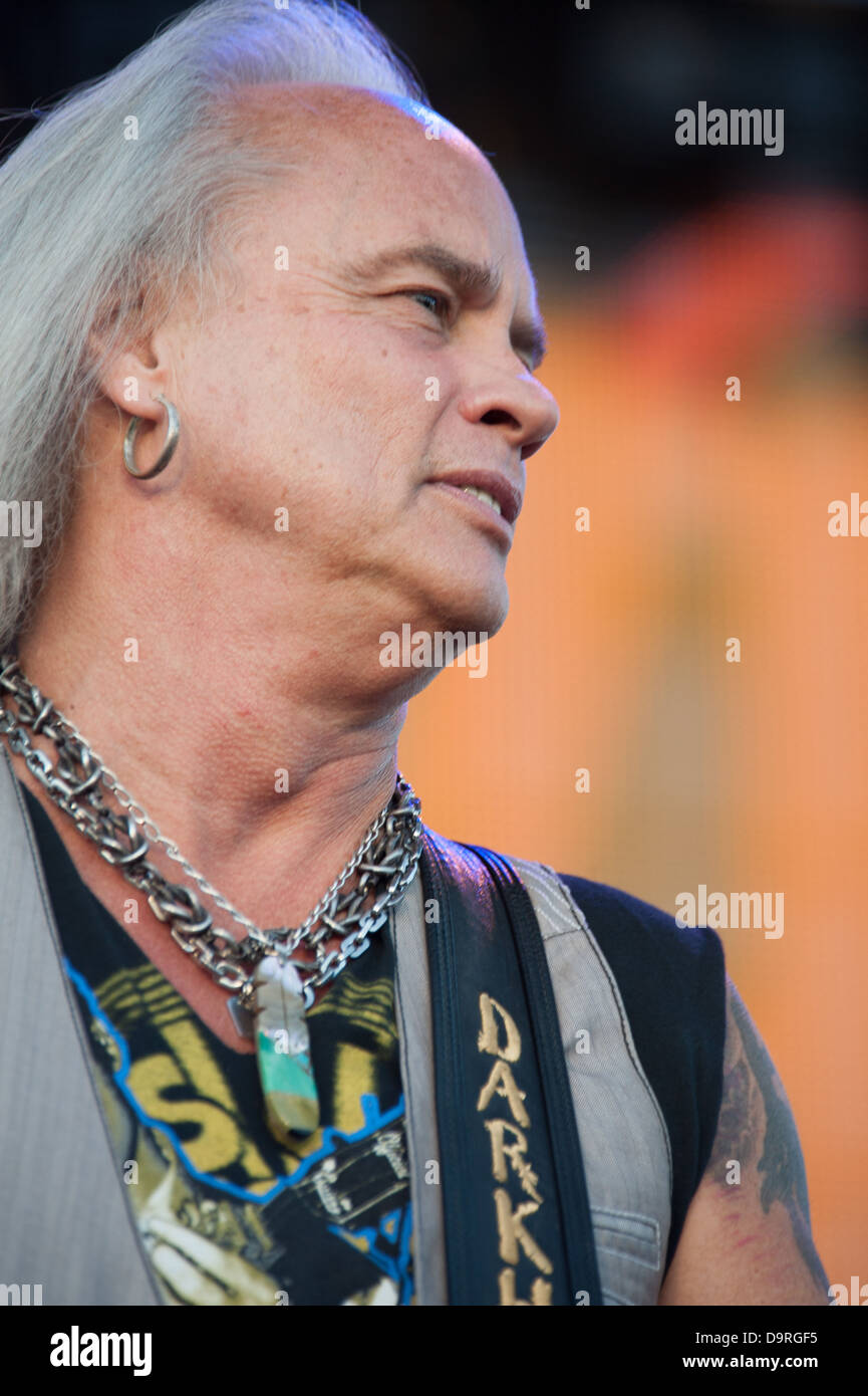 LINCOLN, CA - June 22: Rickey Medlocke with Lynyrd Skynyrd performs at Thunder Valley Casino and Resort in Lincoln, Stock Photo
