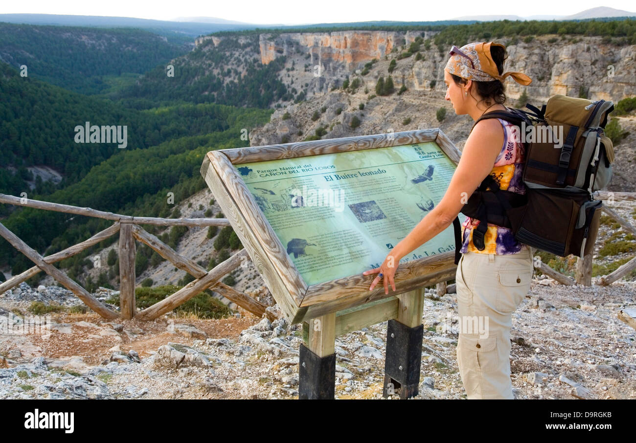 Woman in 'La Galiana' viewpoint. Cañon del Rio Lobos Natural Park . Soria province, Castile and Leon, - Stock Image