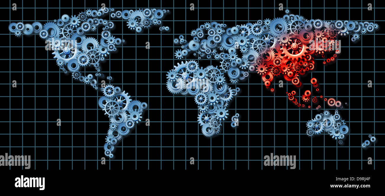 Asia economy and asian economic activity as a business concept with asia economy and asian economic activity as a business concept with a world map made of gears and cogs with china japan korea highlighted in red as an idea gumiabroncs Choice Image
