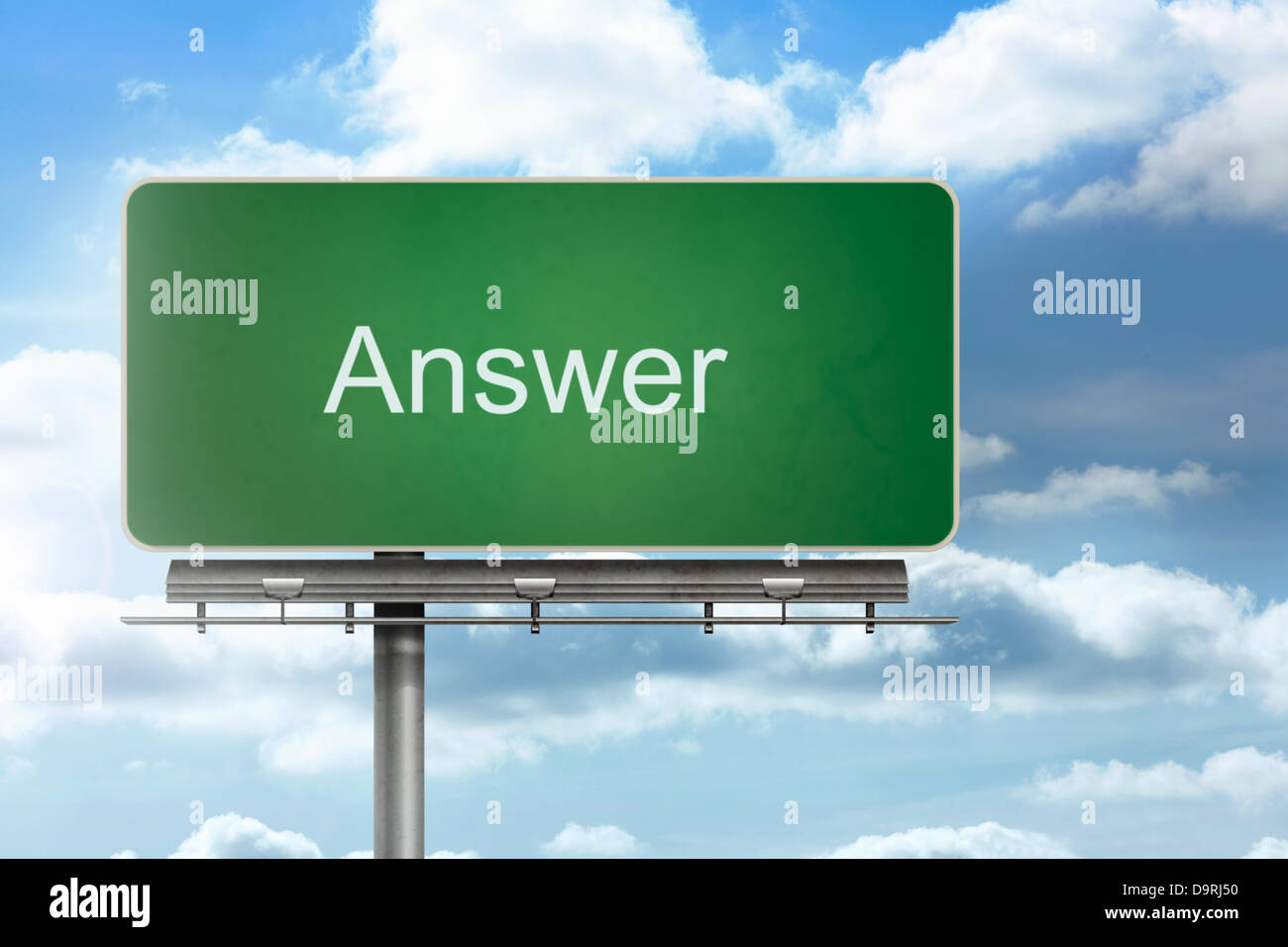 Sign spelling out answer - Stock Image
