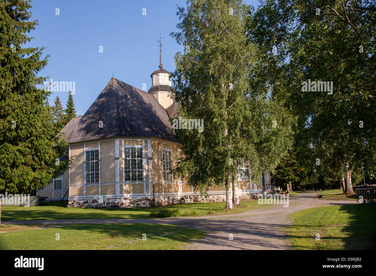 Lappajärvi Church was built of wood to the shape of cross in Ostrobothnia, Finland in 1765. - Stock Image