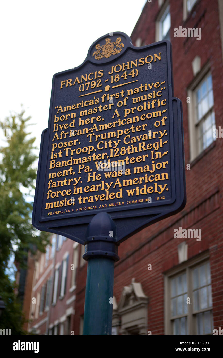 FRANCIS JOHNSON (1792-1844) 'America's first native-born master of music' lived here. A prolific African - Stock Image