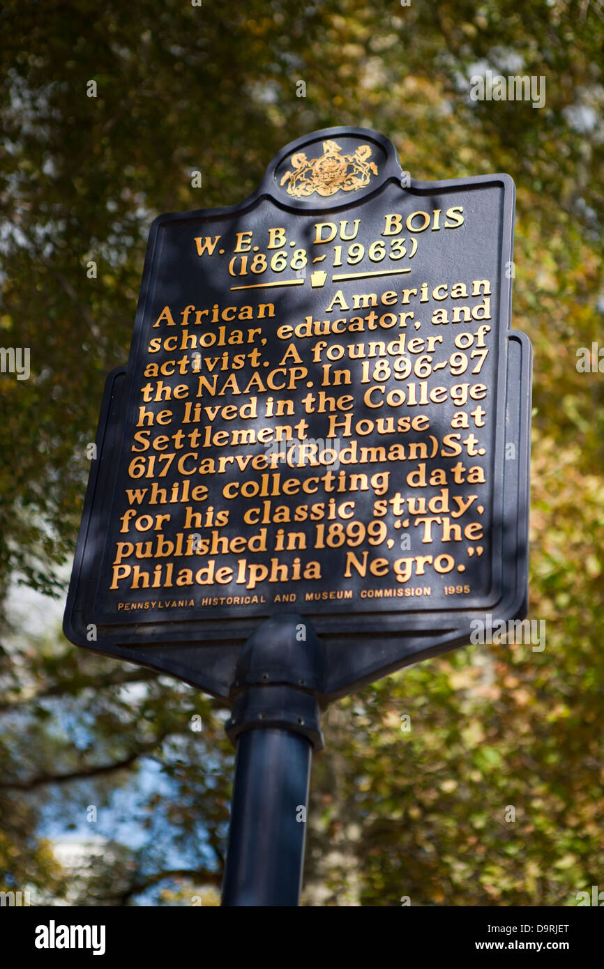 W.E.B. DU BOIS (1868-1963) African American scholar, educator, and activist. A founder of the NAACP. From 1896-1897, - Stock Image
