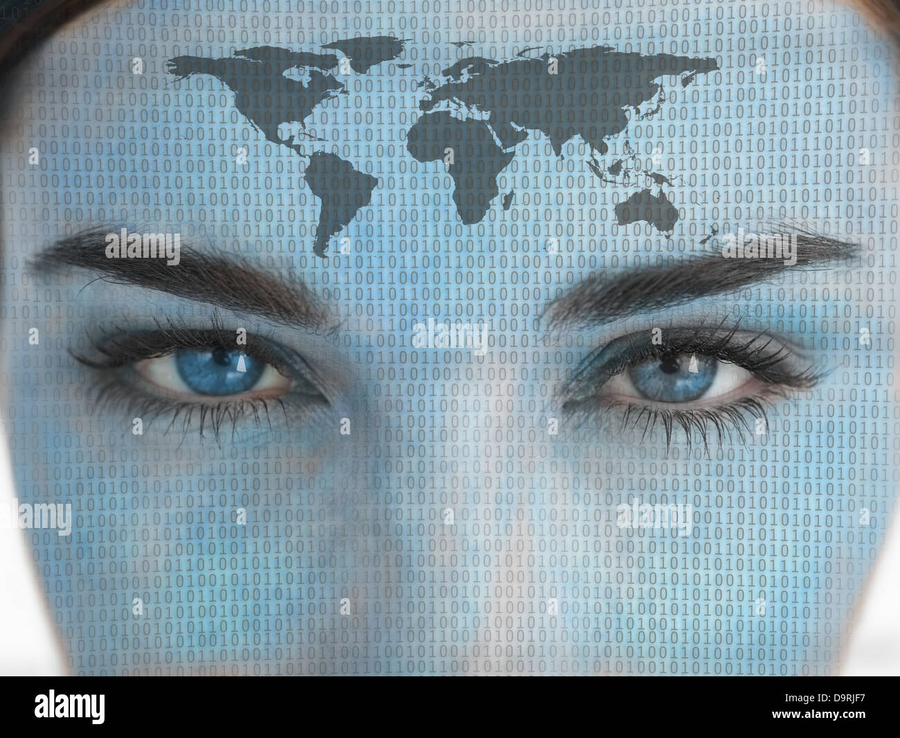 Attractive blue eyed woman with binary coding and map on face - Stock Image