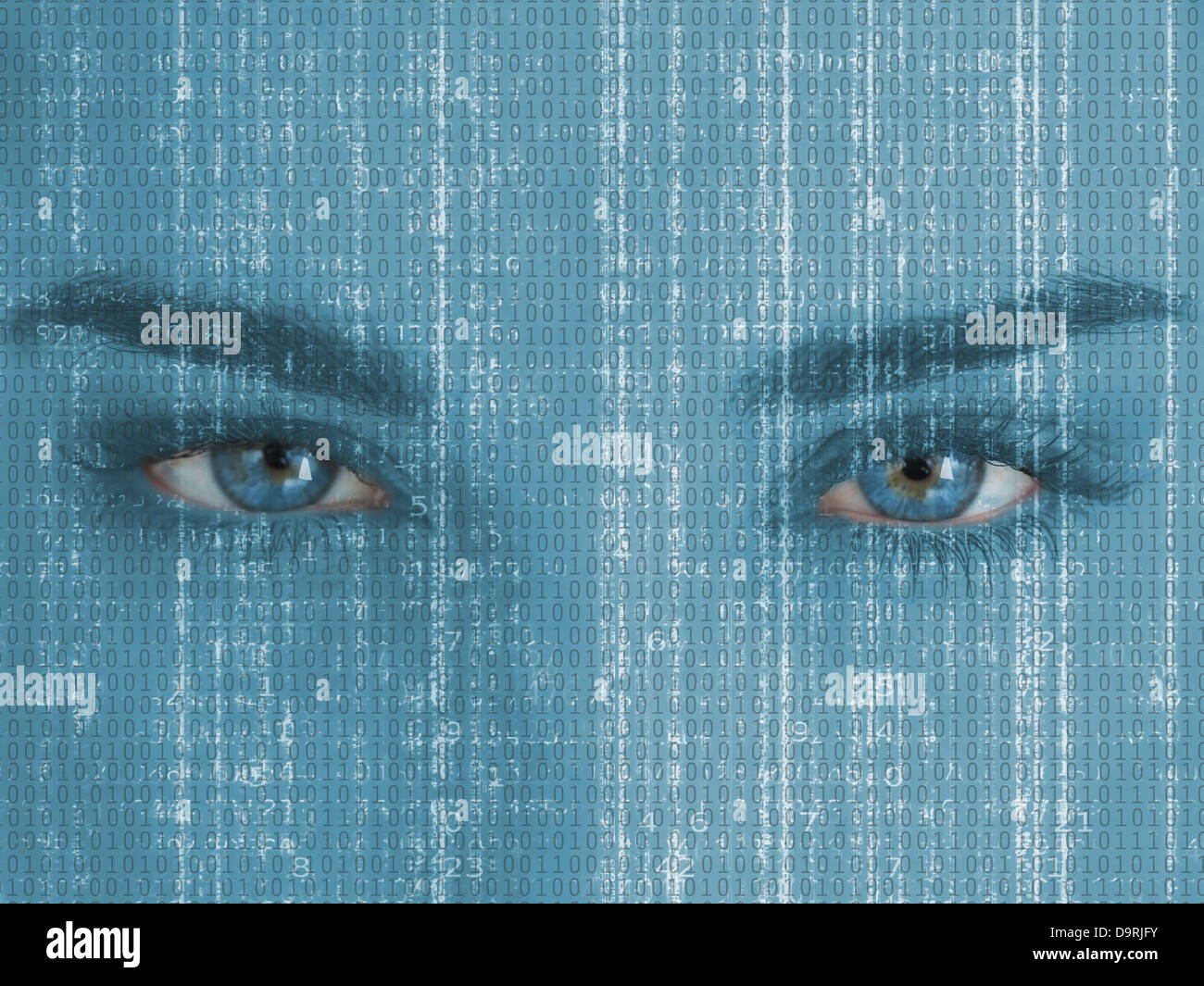 Attractive blue eyed woman with matrix on face - Stock Image