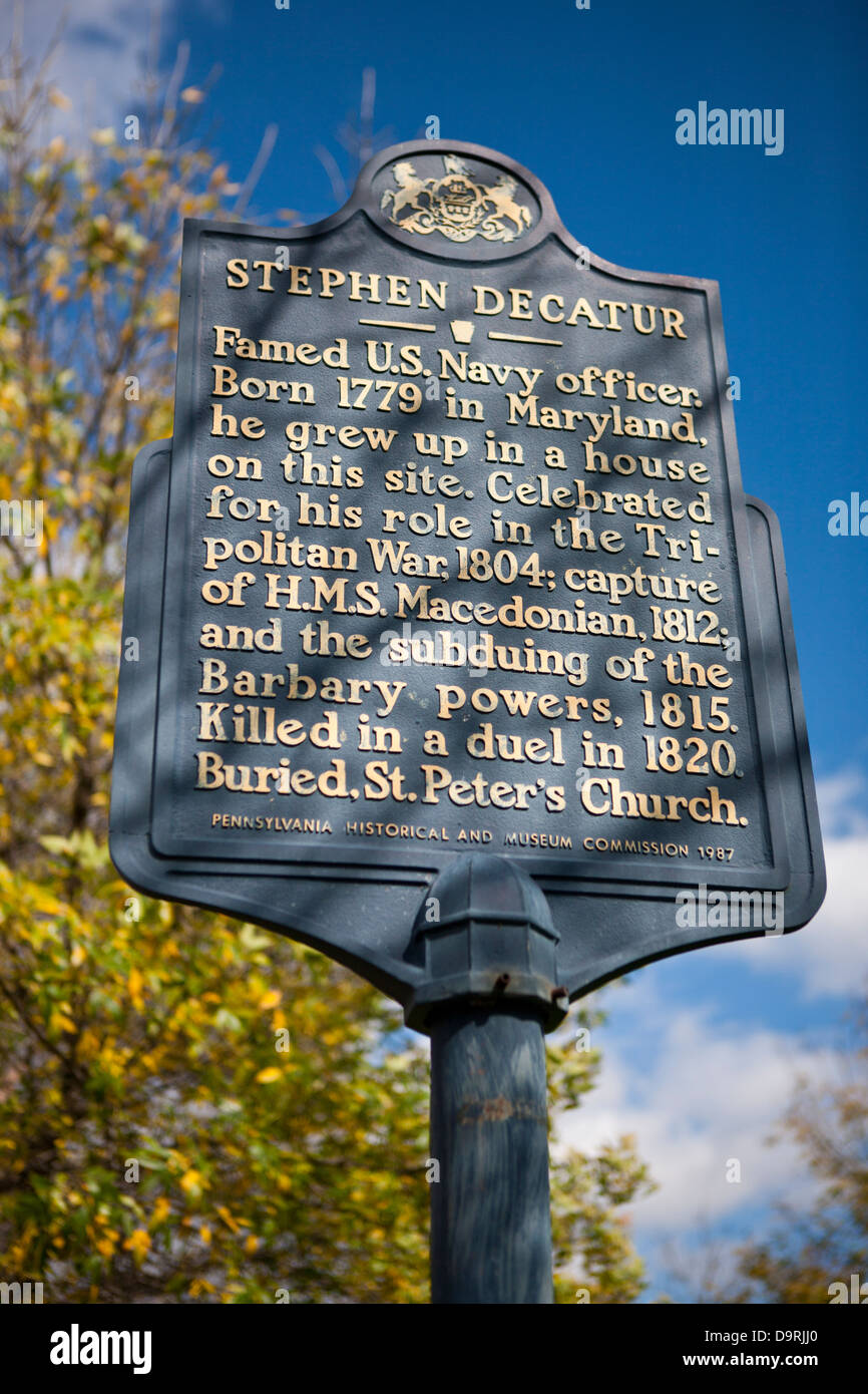 STEPHEN DECATUR  Famed U.S. Navy officer. Born 1779 in Maryland, he grew up in a house on this site. Celebrated - Stock Image