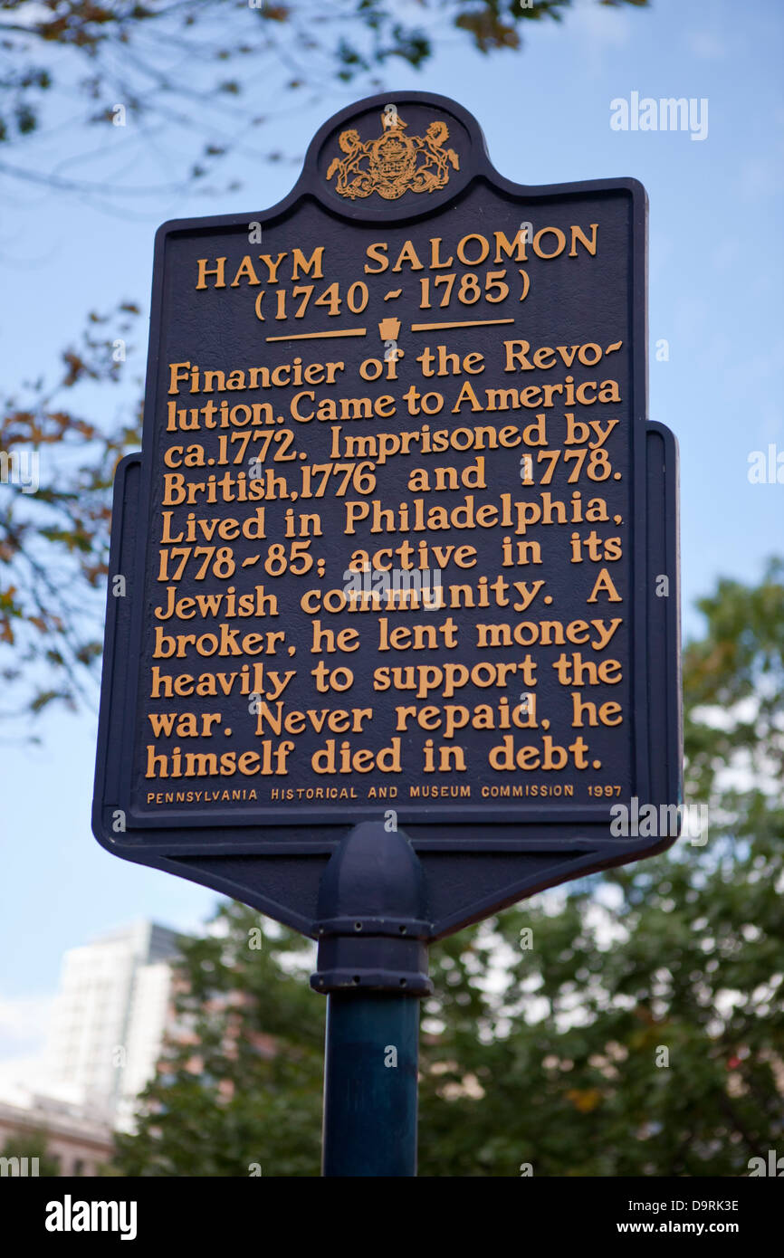 HAYM SALOMON (1740-1785)  Financier of the Revolution. Came to America ca. 1772. Imprisoned by British, 1776 and - Stock Image