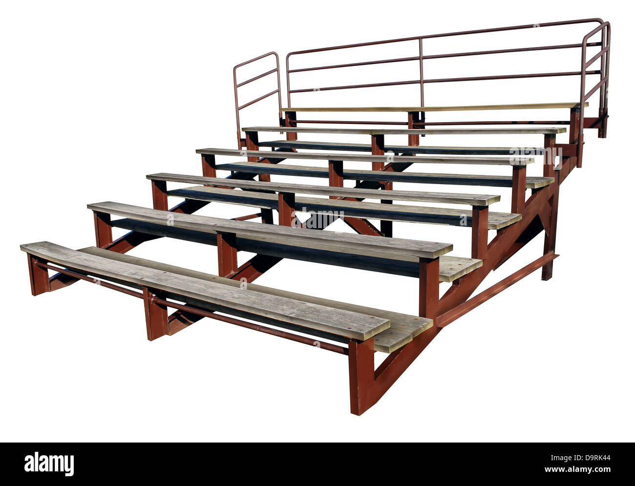 Empty bleachers or stands isolated on a white background as a symbol of school sports and fan support for small - Stock Image