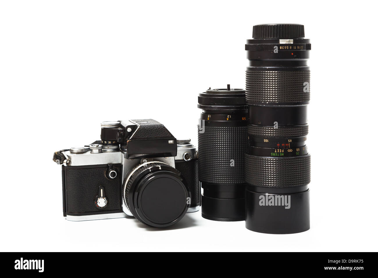 Old camera and lens isolated on white background - Stock Image