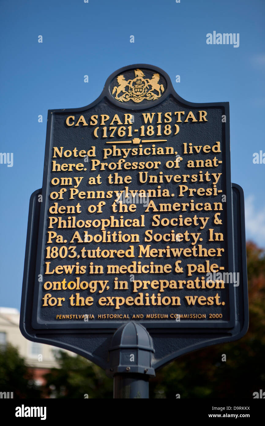CASPAR WISTAR (1761-1818) Noted physician, lived here. Professor of anatomy at the University of Pennsylvania. President - Stock Image