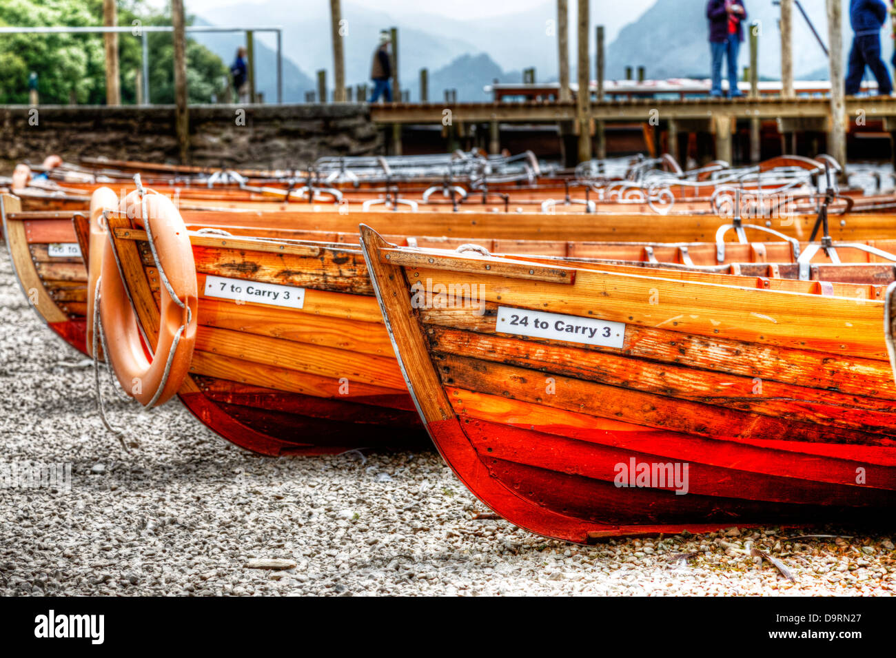 wooden rowing boats Derwent water, Cumbria, Lake District national park, UK, England - Stock Image