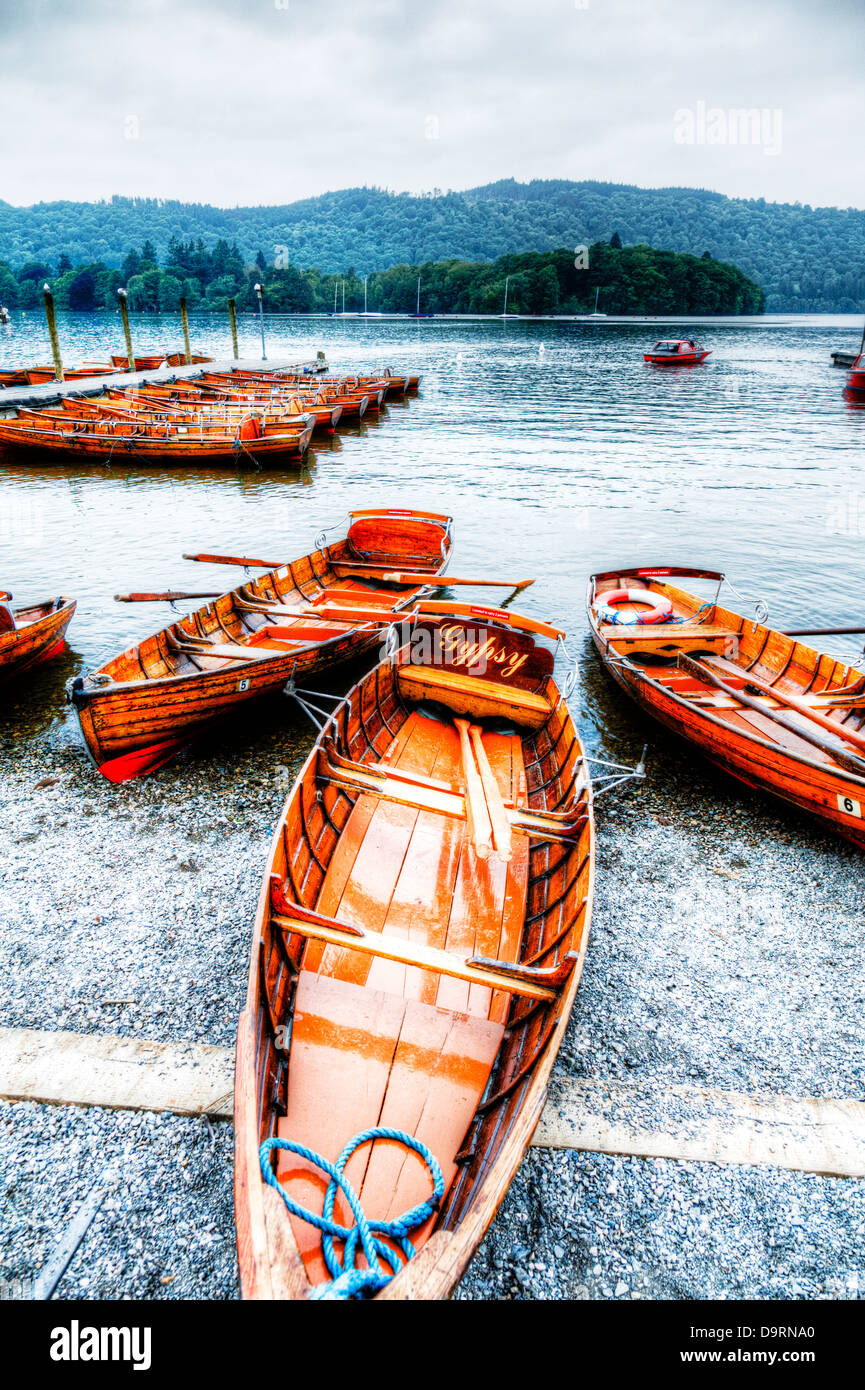 Windermere wooden rowing boats Cumbria, Lake District national park, UK, England - Stock Image