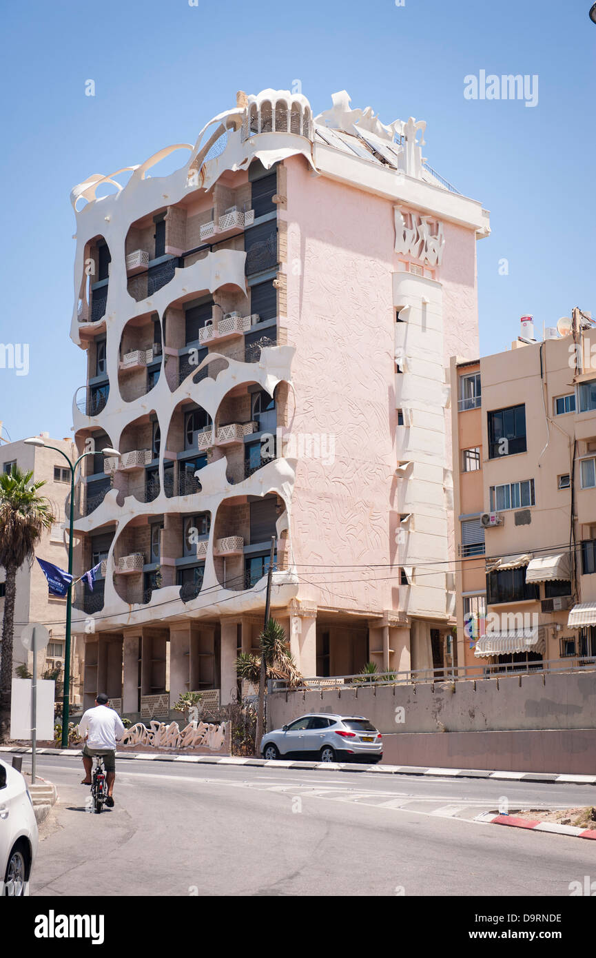 Israel Tel Aviv 181 Hayarkon aka St Crazy or Nutty House postmodern low rise condo apartment flats block by Leon - Stock Image