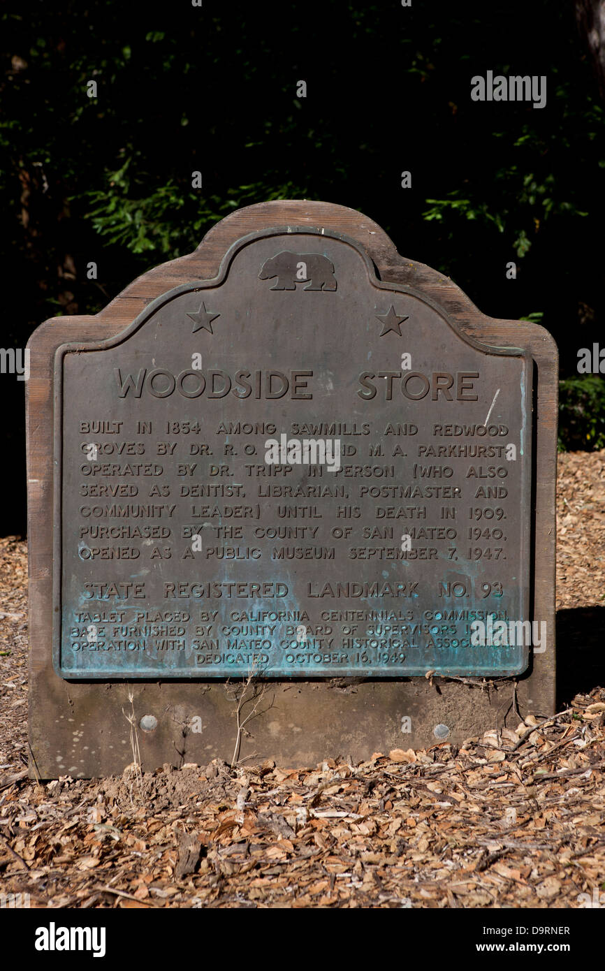 WOODSIDE STORE Built in 1854 among sawmills and redwood groves by Dr. R.O. Tripp and M.A. Parkhurst. Operated by - Stock Image