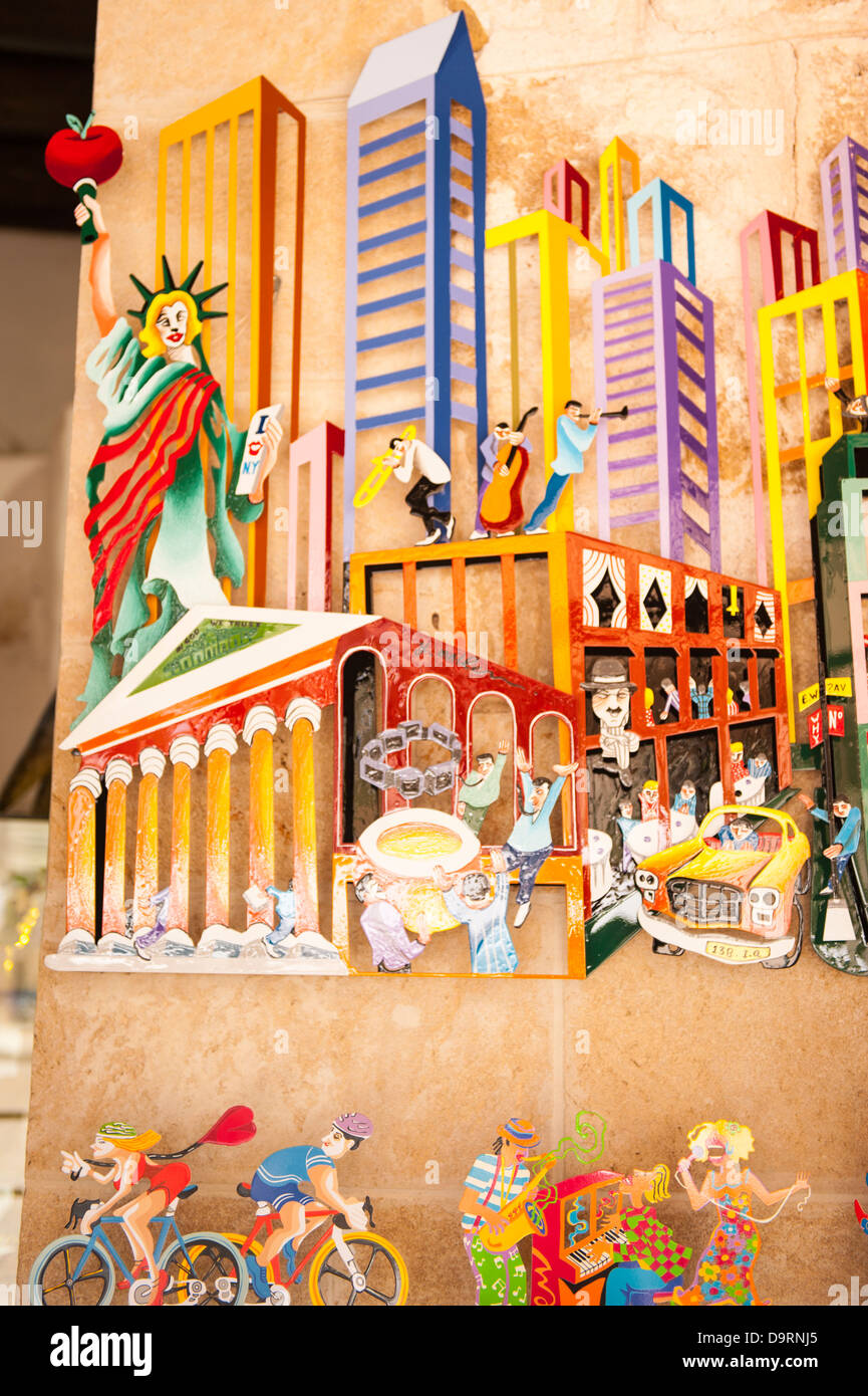 Israel Old Jaffa Yafo shop stop Art famous Israeli artist David Gerstein colourful colorful pictures cut out 3 dimensional - Stock Image