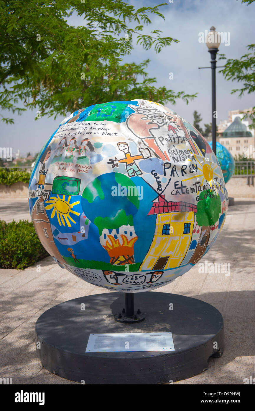 Israel Jerusalem by Jaffa Gate Cool Globes modern contemporary art exhibition on Global Warming  - Clinton Global - Stock Image
