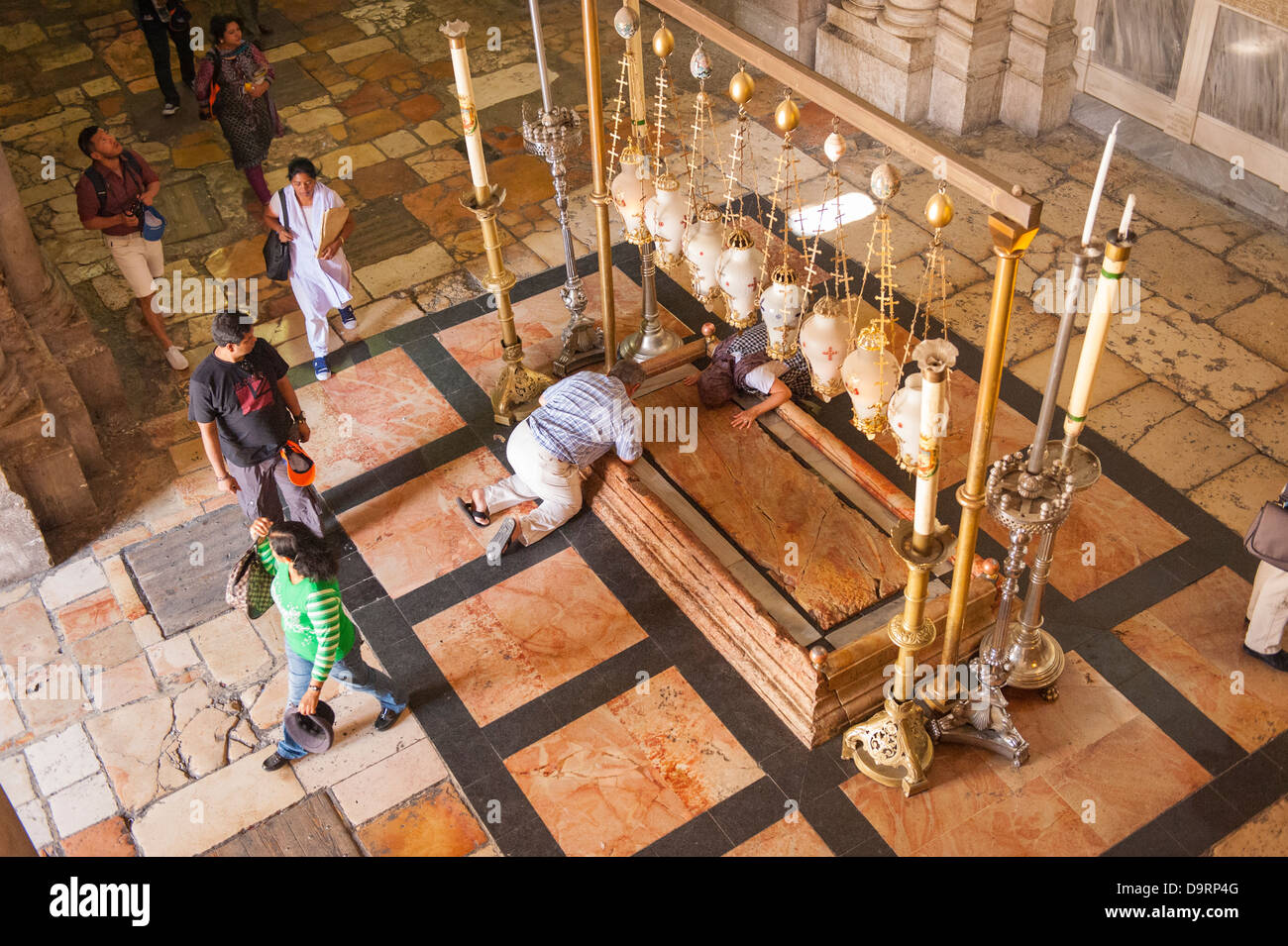 Israel Jerusalem Old City Church of the Holy Sepulcher Sepulchre Stone of the Unction body of Christ anointed wrapped Stock Photo