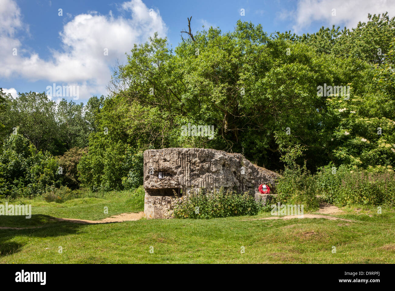 Ruin of First World War One German pillbox / bunker on Hill 60, WWI military site at Zillebeke, West Flanders, Belgium - Stock Image
