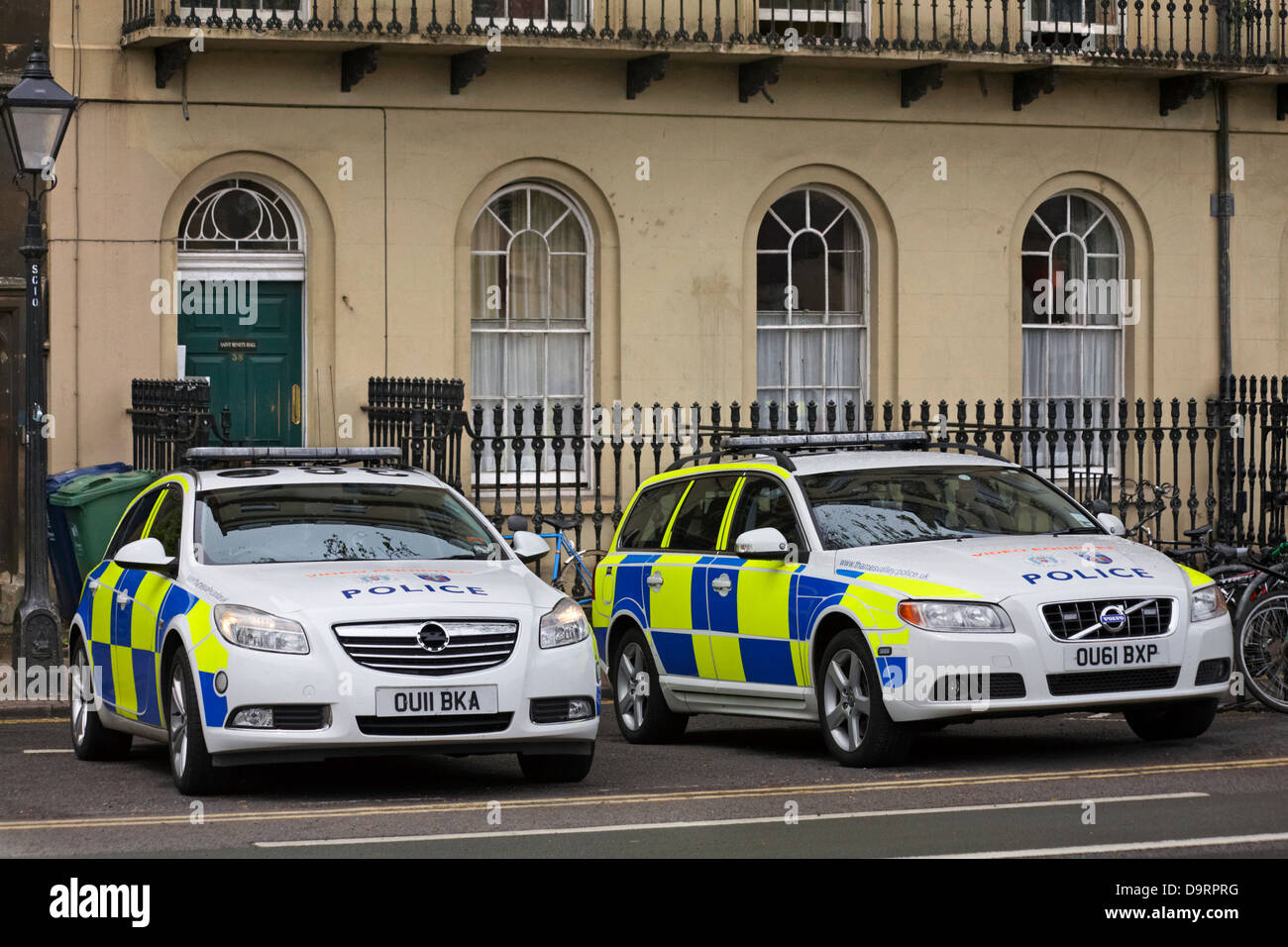 police cars parked at Oxford in May - Stock Image