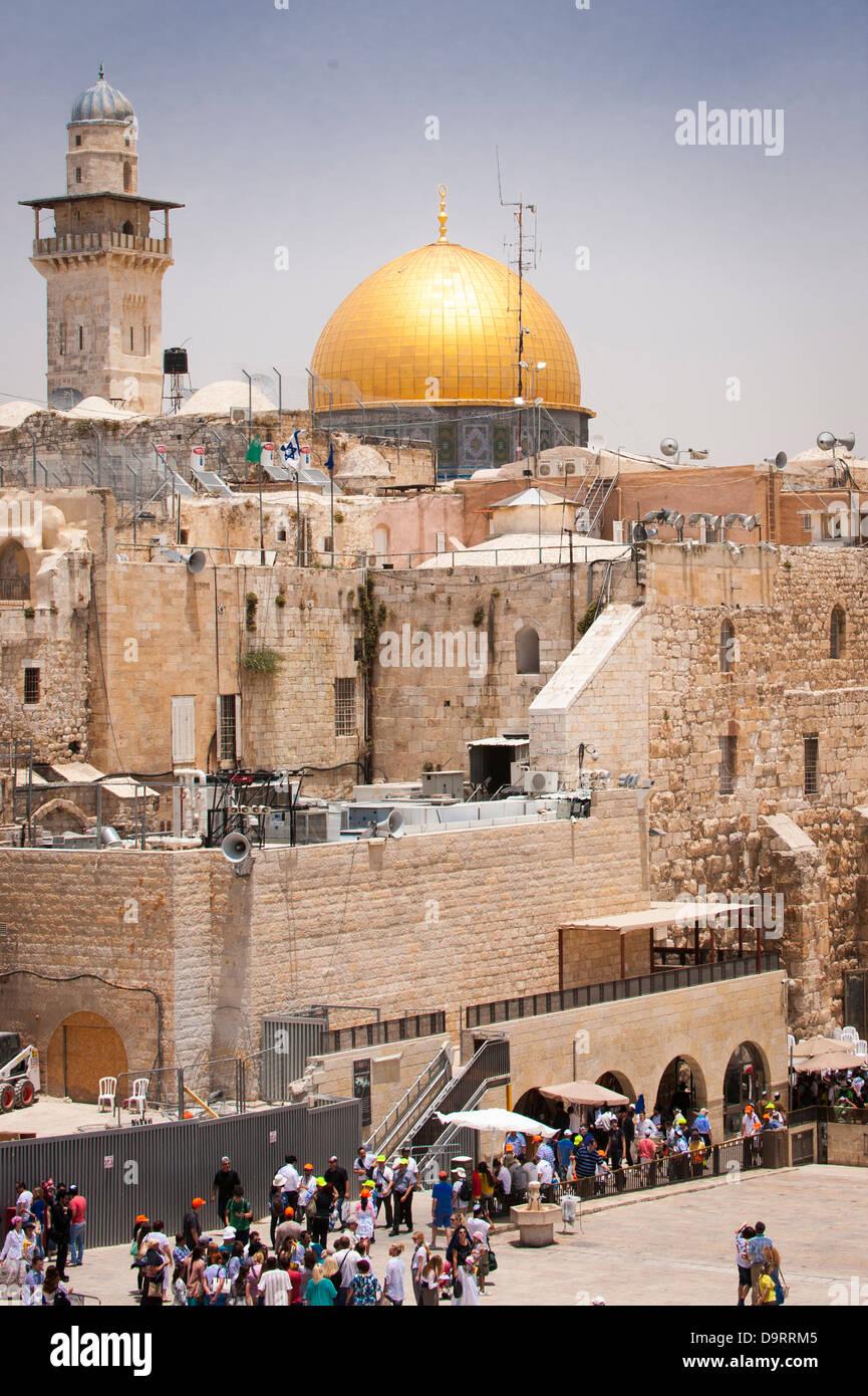 Israel Jerusalem Old City Noble Sanctuary Temple Mount Dome of the Rock Western Wailing Wall Ha Kotel HaKotel Plaza Stock Photo