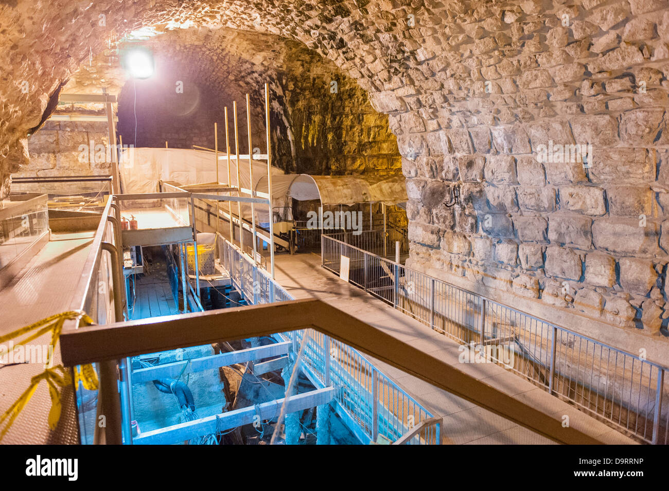 Israel Old City Jerusalem Tunnel Tunnels Western Wailing Wall street level section of Secret Passage anti chamber - Stock Image