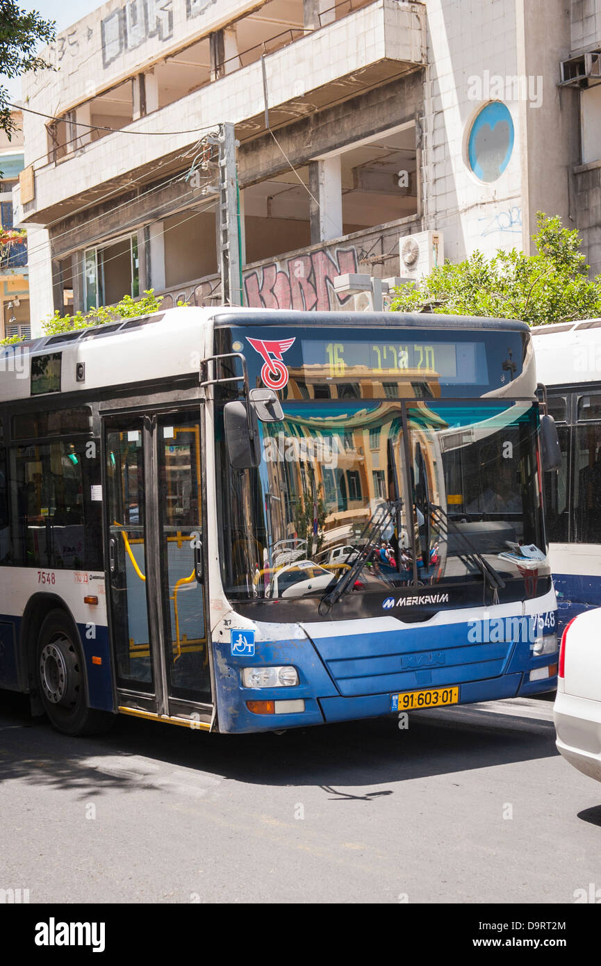 d5f1c75db7 Israel Tel Aviv Jaffa Yofa no 16 blue white Dan MAN Merkavim bus coach  omnibus public
