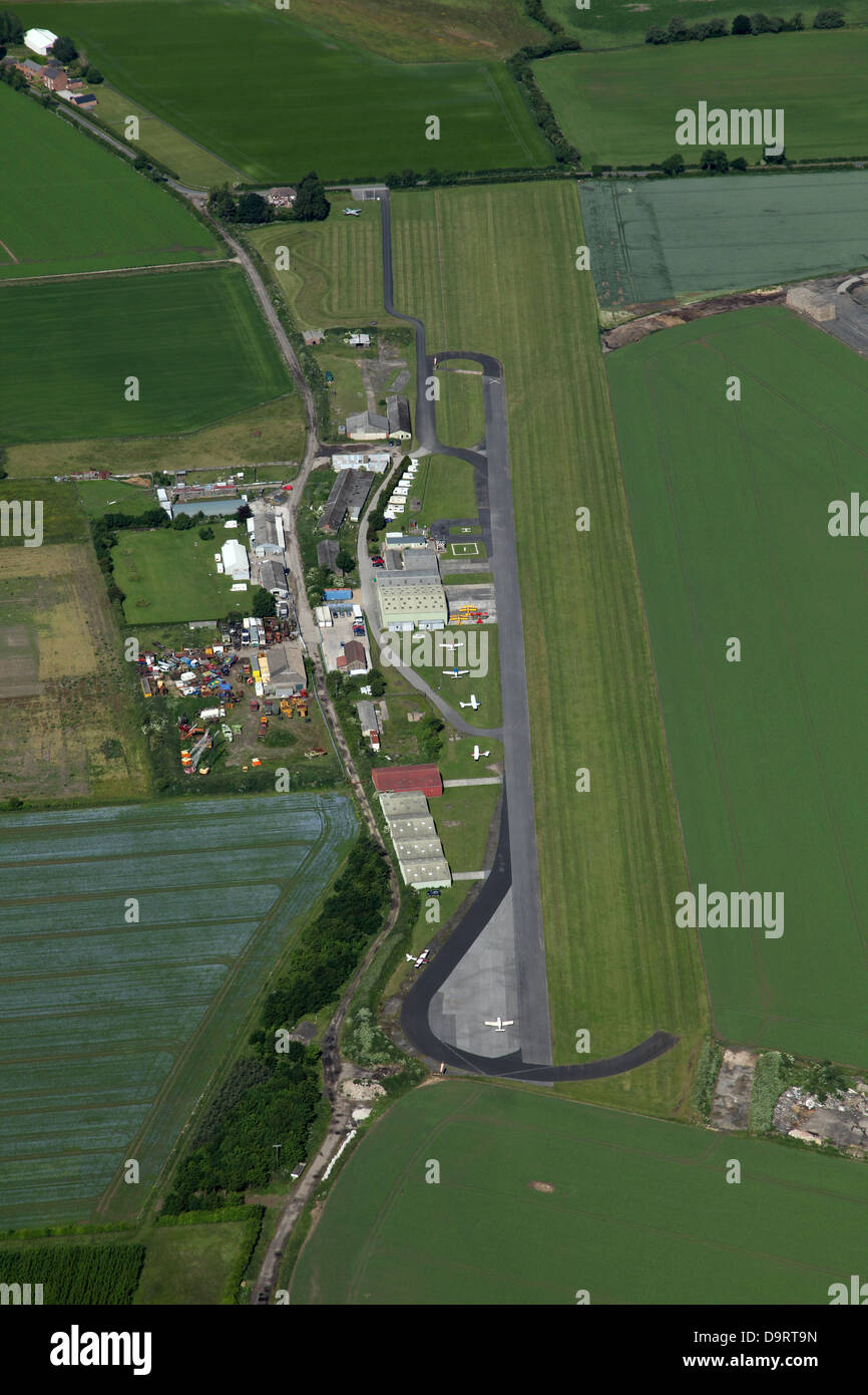 aerial view of Breighton airfield near Selby, Yorkshire - Stock Image