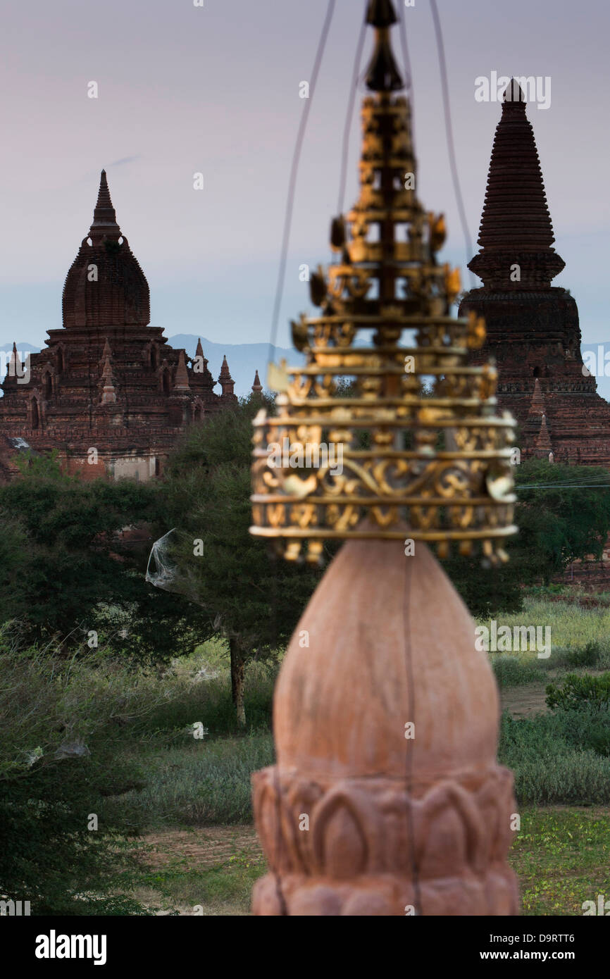 Some of the 4000 ancient Buddhist temples which are scattered across the Plain of Bagan, (or Pagan) in Burma, ( - Stock Image