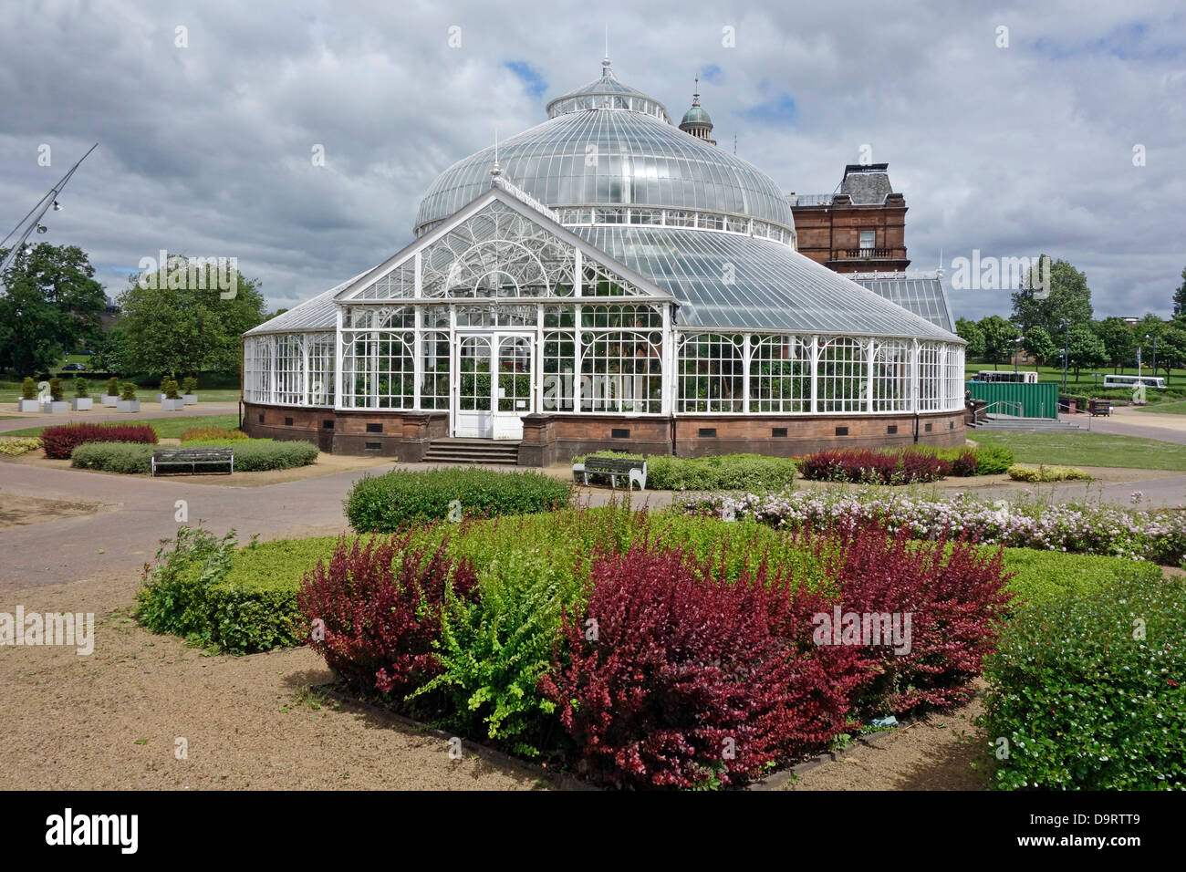 People's Palace and Winter Gardens in Glasgow Green park Glasgow Scotland - Stock Image