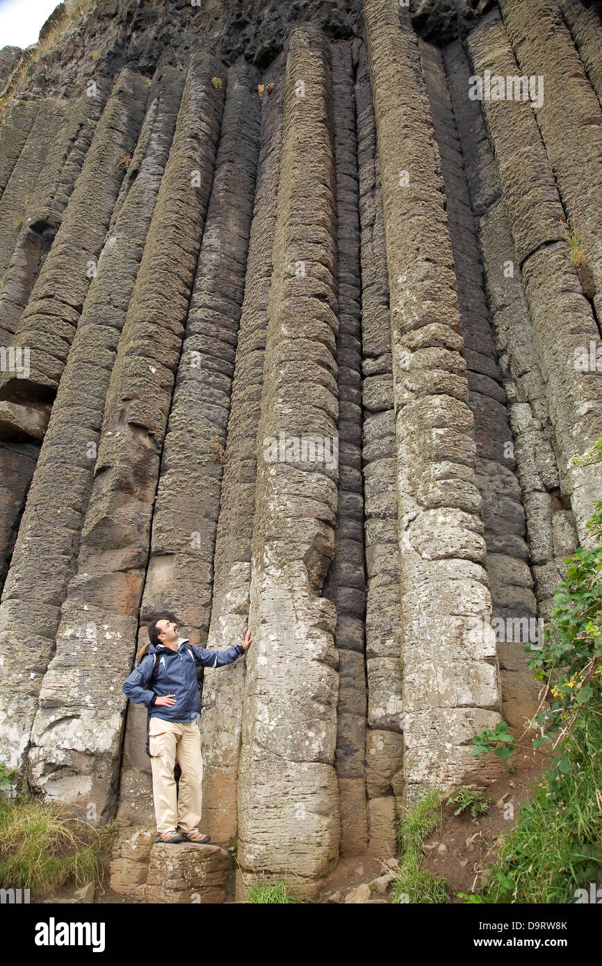The Organ Basaltic formation, in the 'Causeway Route'. County Antrim, Northern Ireland coast, United Kingdom, - Stock Image