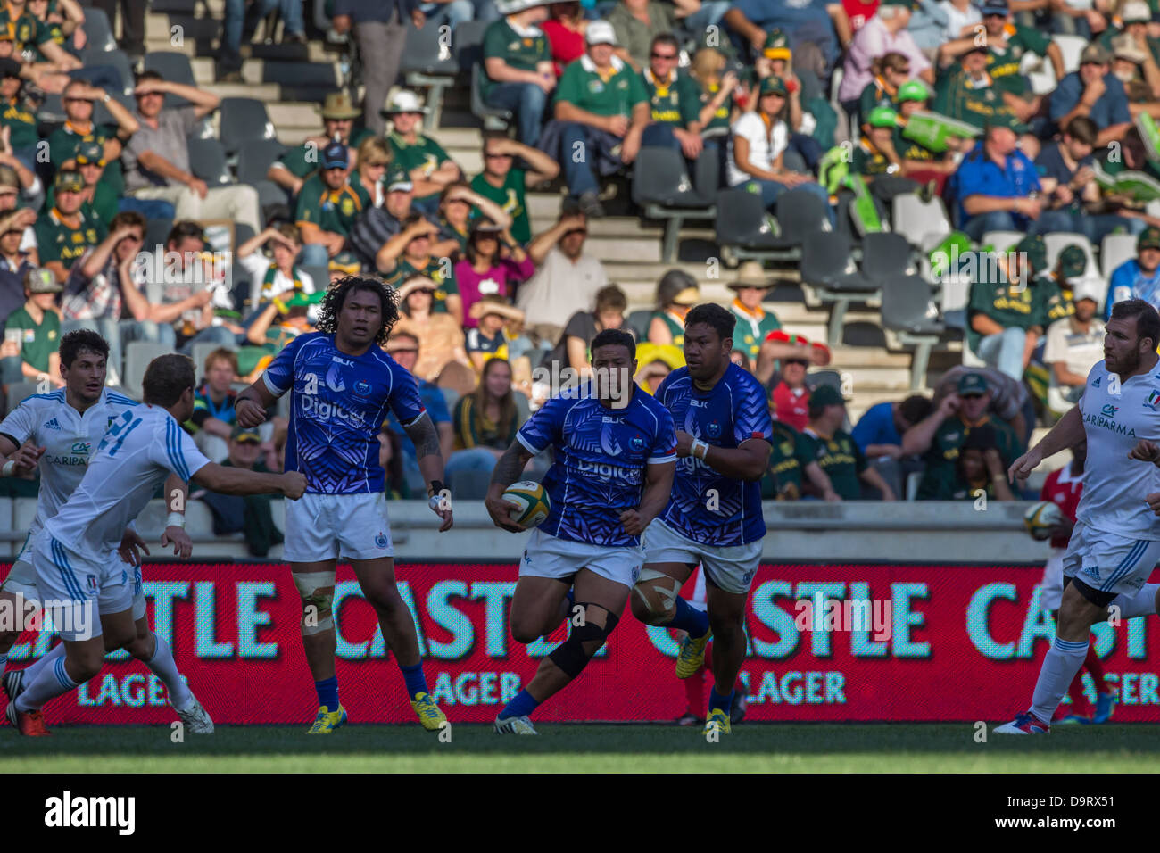 Samoa's Alapati Leiua with the ball during the rugby match between Italy and Samoa at Mbombela Stadium South - Stock Image