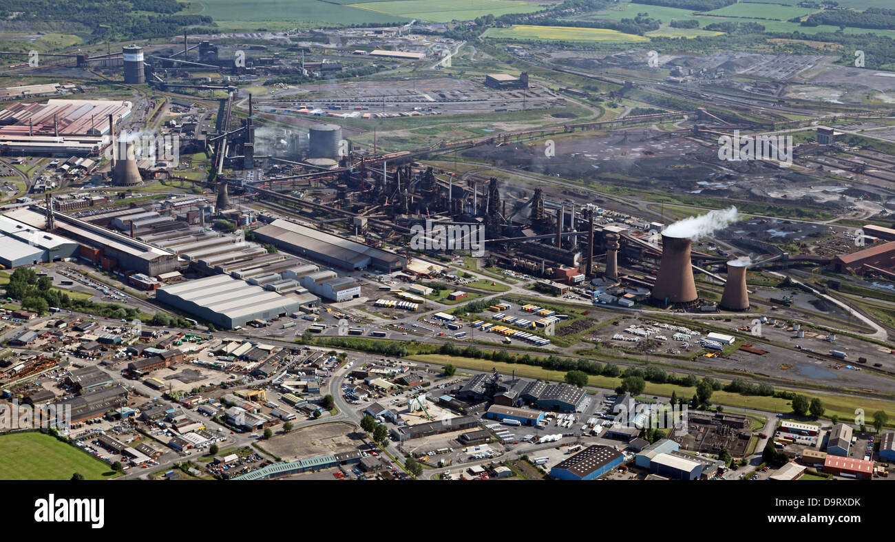 aerial view of British SteelTata steelworks at Scunthorpe, formerly British Steel - Stock Image