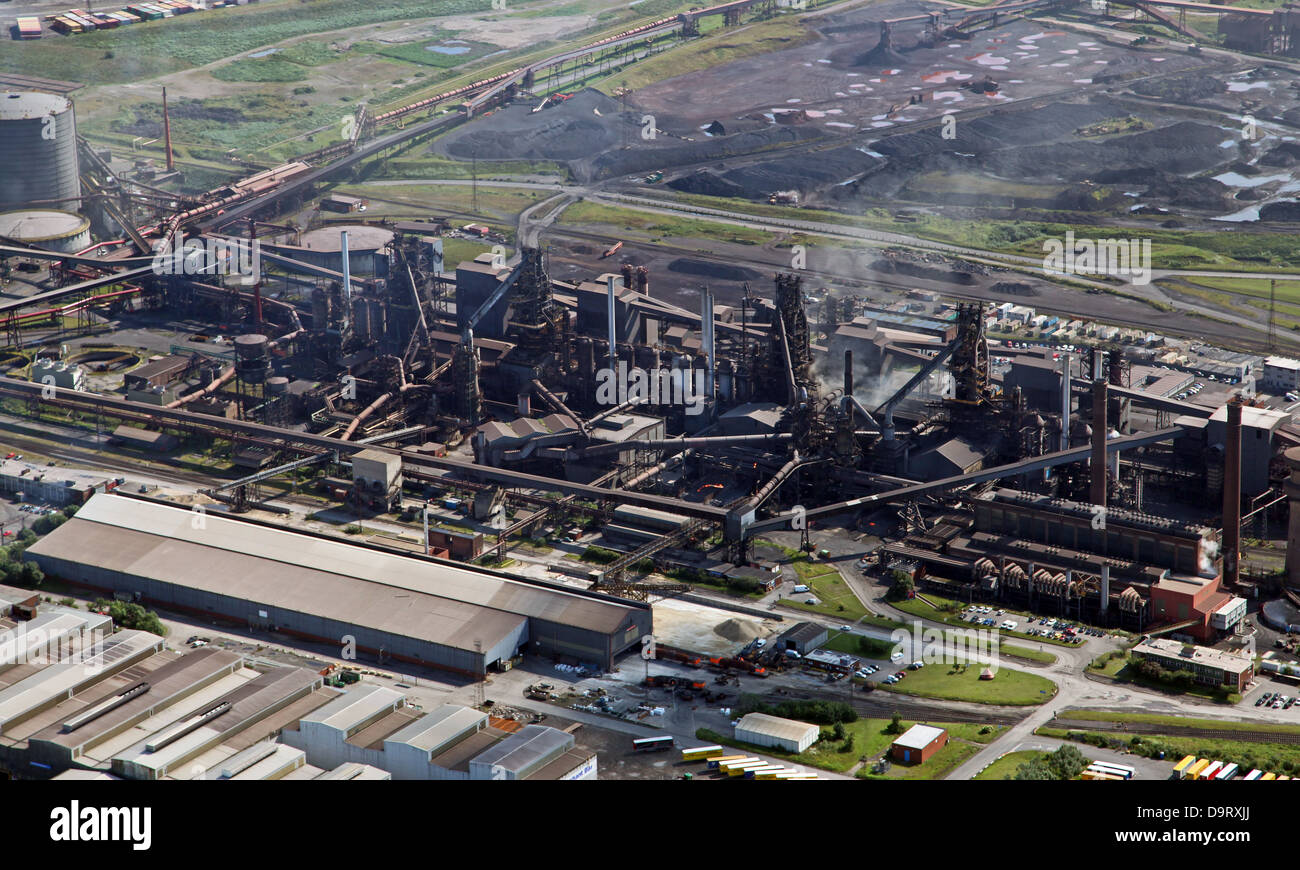 aerial view of British Steel Tata steelworks at Scunthorpe, formerly British Steel - Stock Image