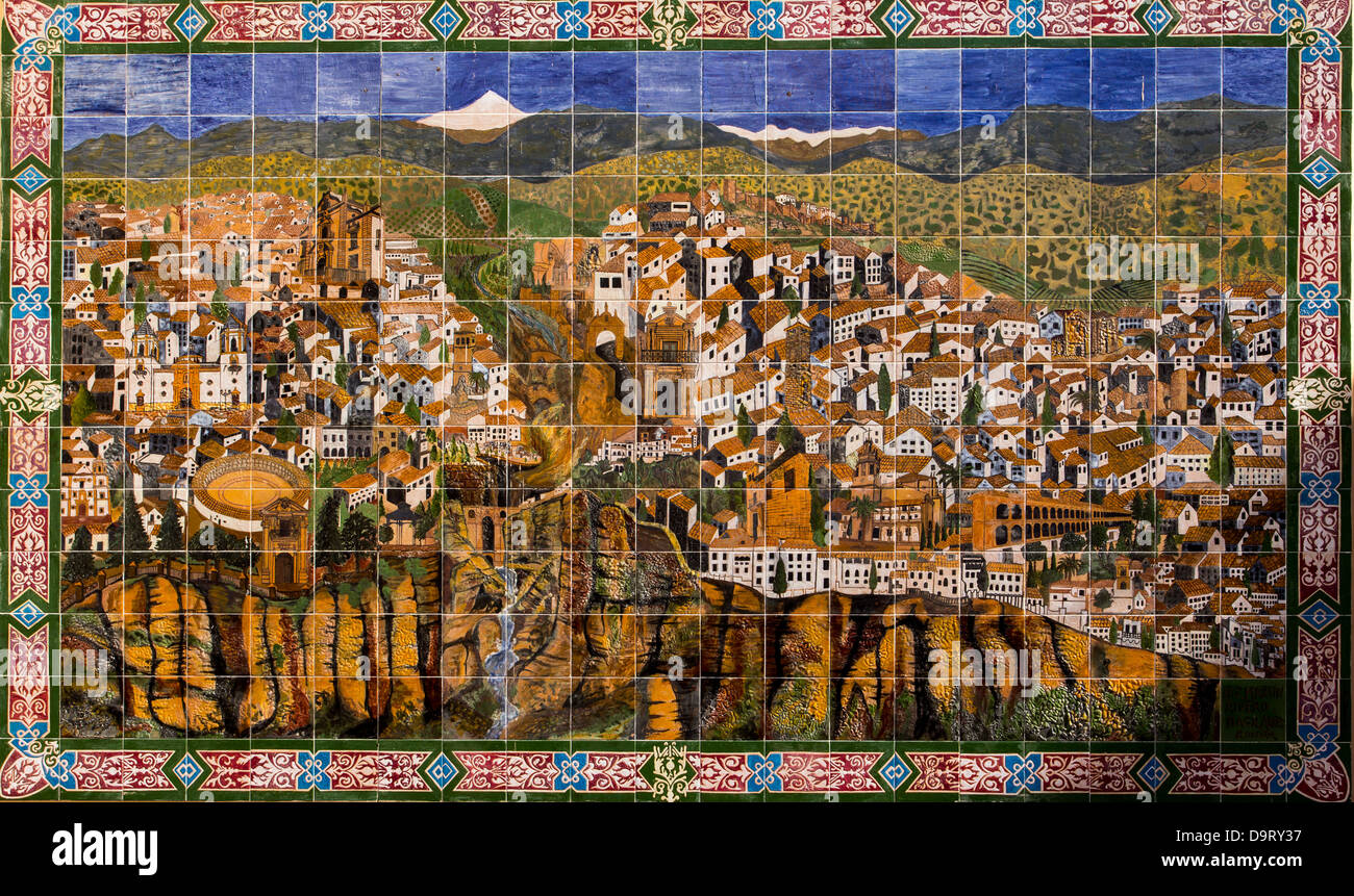 RONDA AND THE SERRANIA DE RONDA DEPICTED ON WALL TILES ON A WALL IN THE CENTRE OF THE TOWN ANDALUCIA SPAIN - Stock Image