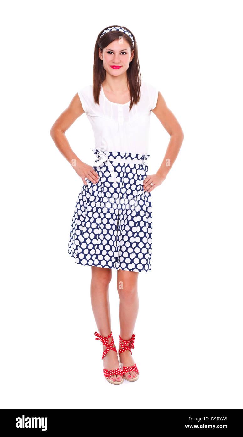 Full Body Portrait Of A Beautiful Brunette Woman Wearing Polka Dots