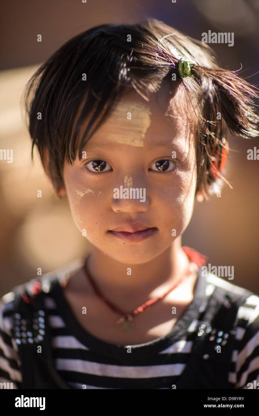 a girl, Inle Lake, Myanmar (Burma) - Stock Image