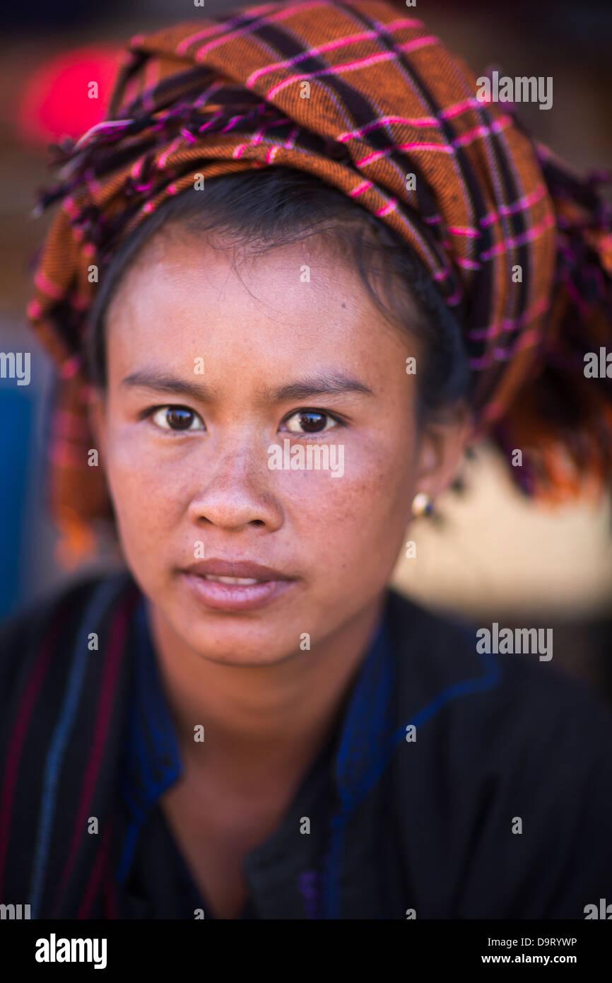 a lady, Inle Lake, Myanmar (Burma) Stock Photo