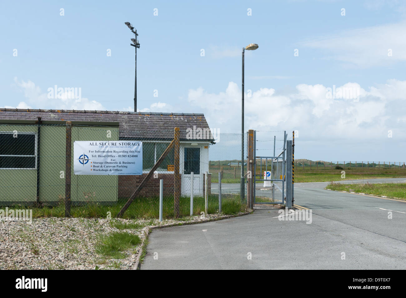 Main gate to Llanbedr Airfield, and the entrance to the prospective UK spaceport - Stock Image