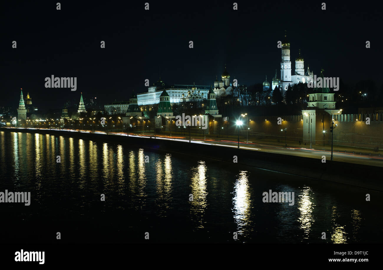 Moscow Kremlin at night - Stock Image