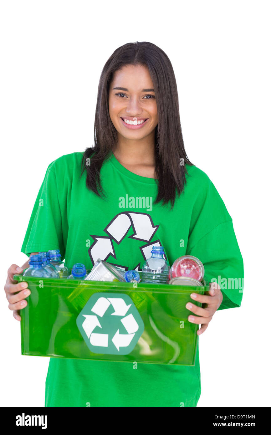 Enivromental activist holding box of recyclables - Stock Image