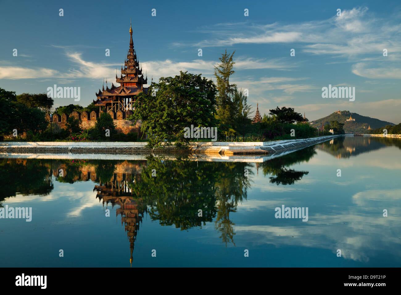 The old Royal City Wall, Mandalay, Burma (Myanmar) Stock Photo