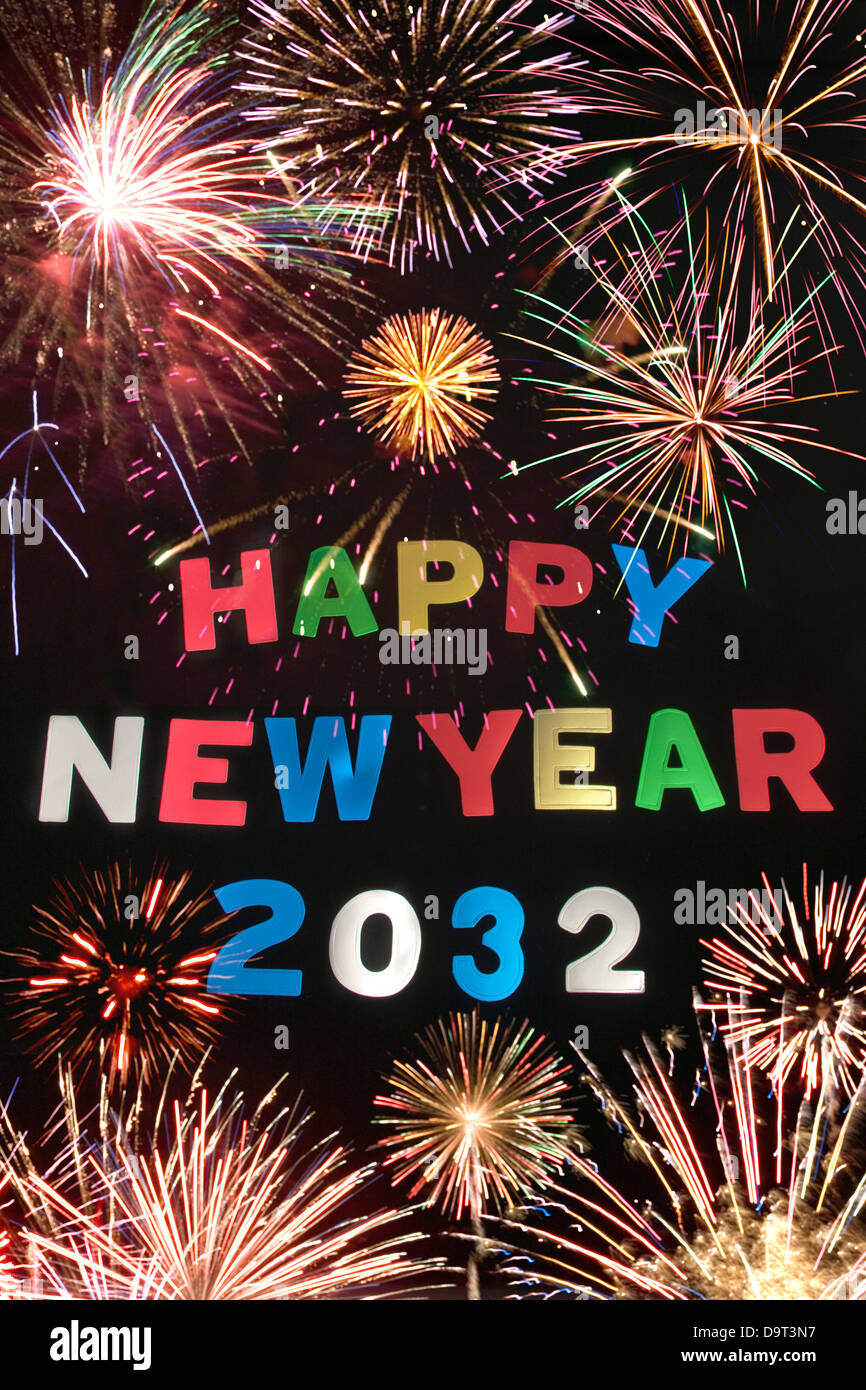 HAPPY NEW YEAR 2032Stock Photo