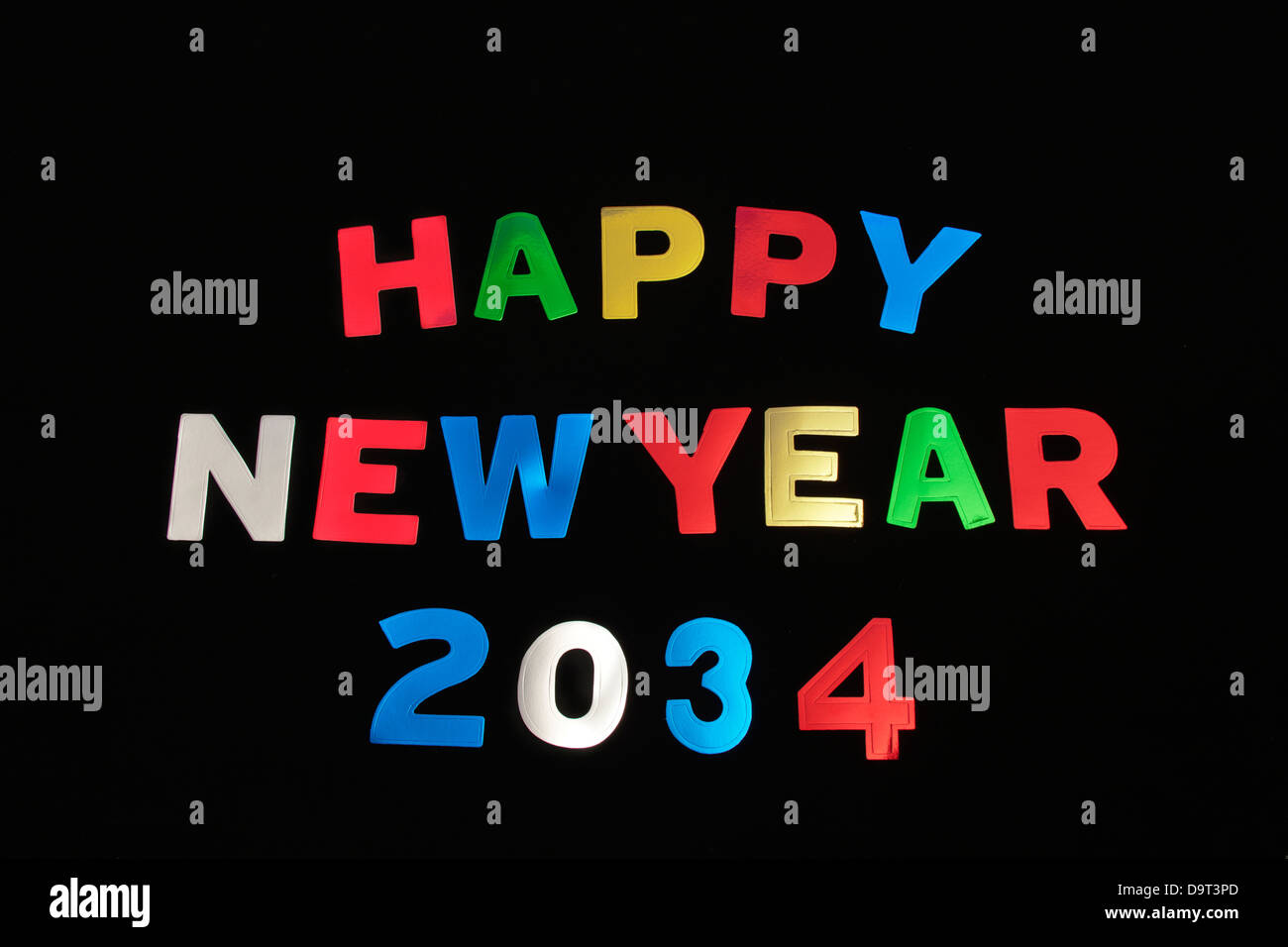 HAPPY NEW YEAR 2034Stock Photo