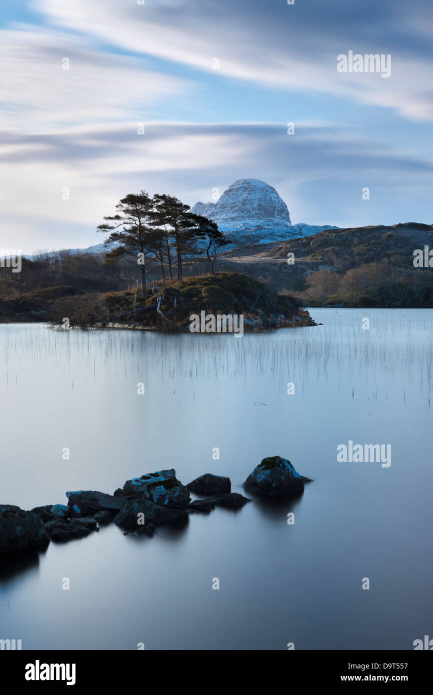 Loch Druim Suardalain with Mts Canisp & Suilven dusted in snow, Sutherland, Scotland, UK - Stock Image