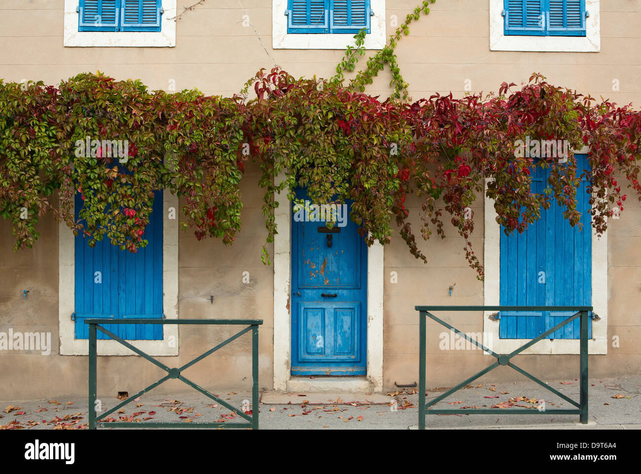 a doorway in Puyloubier, Var, Provence, France - Stock Image